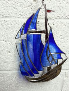 blue stain glass ship