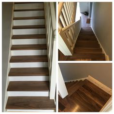 Stair makeover in primed risers and a solid walnut step Along with a engineered walnut floor