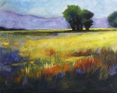 Across The Field by Nancy Merkle    This 16x20 inch landscape from original prairie field painting provided me an opportunity to celebrate the rural roots of the American countryside. I love the colors, the soft breezes, and the idea of leisure time in the open air. The famous poem by Robert Edgar Burns expresses my feelings well.