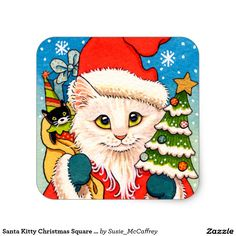 Santa Kitty Christmas Square Stickers