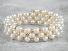 Pulsera de perlas pulsera de alambre memoria Swarovski perla