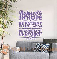 Romans 12:12 Rejoice In Hope Vinyl Wall Decal by MaddCaveDecals