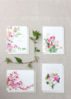 Watercolor floral Mother's Day cards on a table