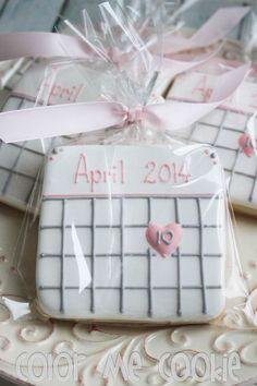 SAVE THE DATE Calendar Sugar Cookies by ColorMeCookies on Etsy #Decoratedsugarcookies