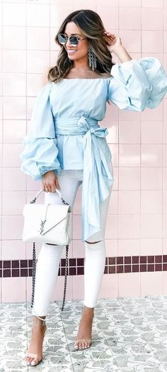 cute outfit idea blouse + bag + pants