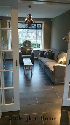 this floor for the kitchen. Gray Interior, Interior Design, Kitchen Interior, Paint Colors For Living Room, Living Styles, Home And Deco, Small Space Living, Home Bedroom, Home And Living
