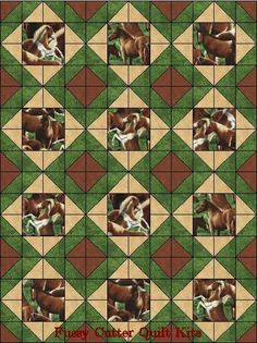 Wild Horses Western Horse Colts Fabric Easy Pre-Cut Quilt Blocks Top Kit