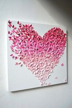 Ombre Heart Canvas | Paint chips cut into the shape of butterflies, folded in half and glued onto Canvas.