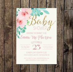 Faux Gold Glitter & Pink Baby Shower Invitation with Watercolor Flowers. $15 on Etsy.