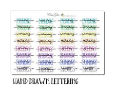 Hand Drawn Bullet Journal (BUJO) Style Weekly Headers for your planner. Each sheet contains 4 sets of Weekday Names and Notes Headers. Each Sticker is approx, 1.5 inches wide. Due to the hand drawn nature of these stickers the size will have slight variations. Please note that colors may appear