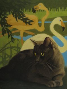 Diane Hoeptner: Cat and Flamingos painting I'm not a crazy cat lady