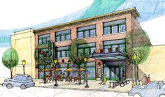 Rendering of proposed building from across North Avenue.