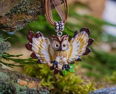 Rainbow eyed #Owl necklace, Owl pendant, Owl jewelry, glass owl necklace with spread wings, glass jewelry  The beautiful necklace with owl. Flying owl is made of glass. this... #owl #lampwork #bird