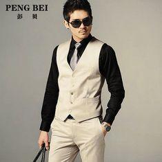 Free Shipping Lowest Price Men's Vests Hot Sale Men's Clothing Male Casual Slim V-neck Vest Classic Suit Vest 2 Colors S~3XL