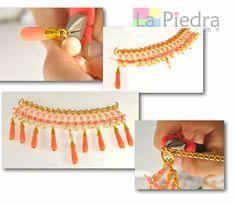 Aprenda a hacer collares de moda gratis, explicación paso a paso tutorial en linea Fashion Bracelets, Fashion Necklace, Bracelets, Necklaces, Jewels