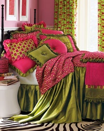 love the green and pink with zebra print rug..