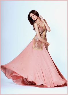 tea pink #Lehenga Ensemble,top embroidered in golden and other rusty shades. While georgette Lehenga is simple flaired with some small botis work...all by 'Sublime by Sara' http://www.facebook.com/SublimeBySara/photos Lahore, Pakistan
