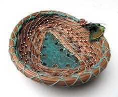 Coiled and Twined Basketry Hobbies And Crafts, Diy And Crafts, Pine Needle Crafts, Contemporary Baskets, Pine Needle Baskets, Woven Baskets, Decorative Gourds, Basket Crafts, Bubble Art