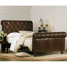 Chesterfield Bed- Chestnut Vintage By Charles P. Rogers - California King Bed High Footboard by Charles P. Rogers Beds. $4249.00. Grand in both scale and luxury; our Chesterfield bed blends generous proportions with the warmth and comfort of a rich; supple vintage chestnut full grain leather. It is hand-tufted with matching leather covered buttons. Comfort layers of high resilience foam have been added to ensure that the distinctive shape will retain its form. The hand tur...