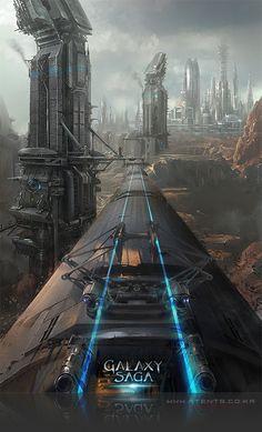 Artist: Atents - Title: 12galaxy2 - Card: Unknown Saga, Futurism Art, Futuristic Technology, Post Apocalypse, Paperback Books, Cyberpunk, Game Art, Science Fiction, Concept Art