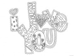 I Love U Coloring Pages Printable I Love You My Valentine Cards ...
