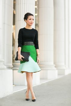 Winter Green :: Colorblock skirt