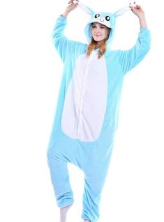 01745edcae BLUE RABBIT ONESIES ANIMAL PAJAMAS FLANNEL SLEEPWEAR