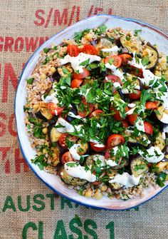 Roasted Eggplant and Falafel Farro Salad with Chickpeas, Red Onion, Pickled Turnips and Tahini Sauce