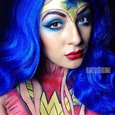 #Wonderwoman created with the help of starcrushedminerals in Celestia,WhiteLightning,DeepOceanBlue,DarkMatter,Luna and ElectricTealNebula along with some of her zombiestarcosmetics' face/body pigments in VampireStar and #SolarBlast.