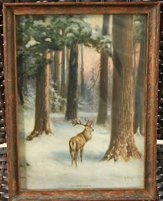 R Atkinson Fox The Forest Primeval Vinatge Print Forest and deer scene Beautiful