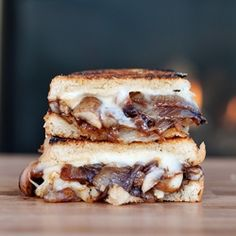 onion and mushroom brie grilled cheese sandwich (where's the tomato soup?) I am so there...