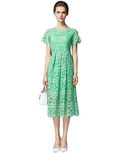 3d472e8dda2 Hawit Yeer Lady Hollow Out Lace Short Sleeve O Neck Summer Cocktail Wedding  Party Dresses Gown Green 3XL  Amazon.co.uk  Clothing