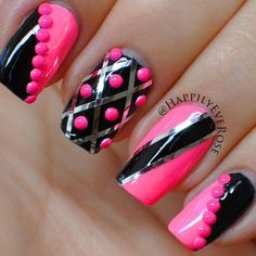 Pink and black creme nail polish go with silver strips and neon bling in this fabulous nail art. Recreate this manicure by following the video using these impressive products.