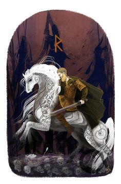 This is my latest illustration(and also runic study ) on the Elder Futhark . I will be happy to hear what do you think about that.  Riding seems easy to every warrior while he is indoors and very courageous to him who traverses the high-roads on the back of a stout horse.  Raido  ALL RIGHTS RESERVED!