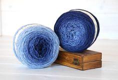 Hand Dyed Yarn - 100% Wool Color Denim Ombre by CraftyWoolFelt