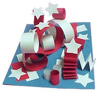 veteran's day.A patriotic kindergarten sculpture lesson: great for practice with folding, curling, gluing, and of course learning about 3D sculpture.