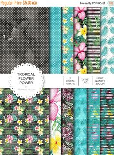 """80% off Entire Shop Digital Paper - Tropical Flower Power - Instant Download - Digital Artwork by mormonlinkshop  1.00 USD  Digital paper is a bit of a misnomer as no paper is involved! You can use these JPEG versions of 12""""x12"""" papers to create backgrounds photo mattes die-cuts etc. just as you would have used a traditional piece of paper. Of course you're able to use these over and over again no longer will you worry about making the """"wrong cut"""" and wasting your supply. Great for all ages…"""