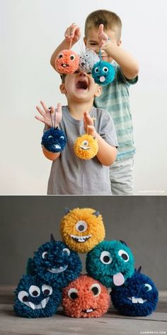 Tutoriel vidéo: Yarn Pom Pom Monsters - Lia Griffith - monstre pompon fait maison Der DIY-Wahnsinn (Do it yourself) in der Welt cap seinen Kopf verloren. Kids Crafts, Cute Crafts, Diy Crafts For Kids, Projects For Kids, Arts And Crafts, Diy Projects With Yarn, Kids Diy, Creative Crafts, Easy Crafts
