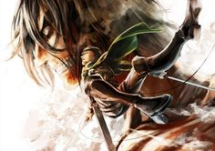 Levi fighting alongside Titan Eren