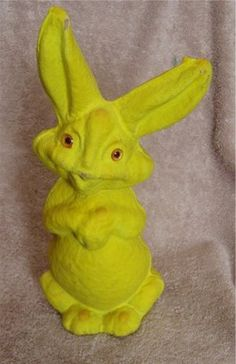 Vintage Paper Mache Easter Bunny Candy Container