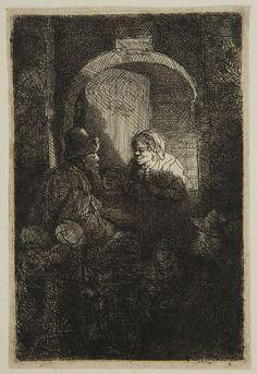 Rembrandt Harmensz van Rijn - Schoolmaster, 1641, Etching plate: 9.5 x 6.3 cm | Harvard Art Museums