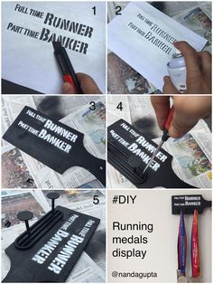 DIY Running Medals Display Full time Runner, Part time Banker