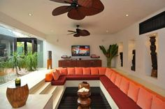 Cozy Luxurious Conversation Pits And Sunken Sitting Areas Image 05 Orange Splendid Living Room Pit
