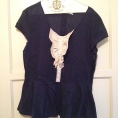 Navy blue shirt sleeve blouse Navy blue short sleeve blouse with ruffles in the front and buttons down the back. ModCloth Tops Blouses