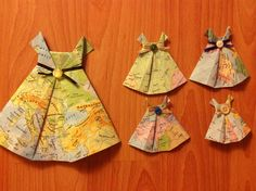 Origami dresses out of old maps #origami #maps
