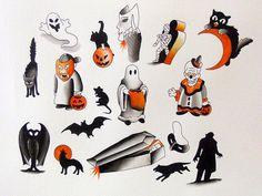 halloween tattoo flash sheet by Kevin @30thstreettattoo.com Tampa, FL
