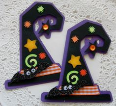 Halloween Paper Embellishments-Set Of 2-Witch Hats on Etsy, $3.19