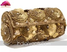 Coin embellished rusty gold clutch by Falah on Indianroots.com