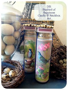 Great Hostess gift....Rook No. 17: recipes, crafts & creative nesting*: Bluebird of Happiness Candle & Matchbook Gift Set Tutorial ~ (The Right Tools Make All the Difference #EKTools)