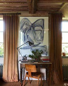 Oversized art above desk